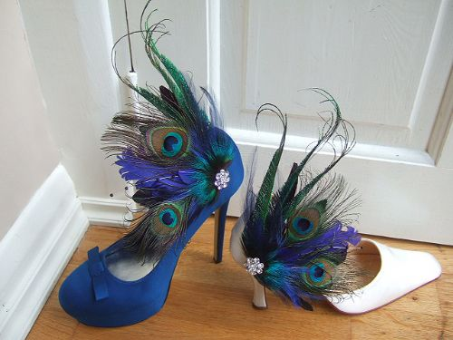 Bridal Curled Peacock Feathers Royal, Navy Blue and Green Shoe Clips SCB110